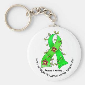 Lymphoma Awareness Non-Hodgkins FLOWER RIBBON 1 Basic Round Button Key Ring