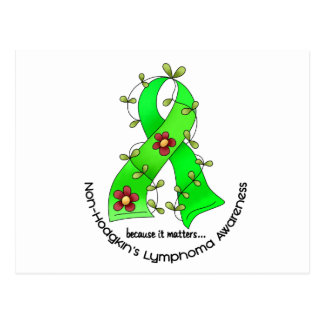 Lymphoma Awareness Non-Hodgkins FLOWER RIBBON 1 Postcard