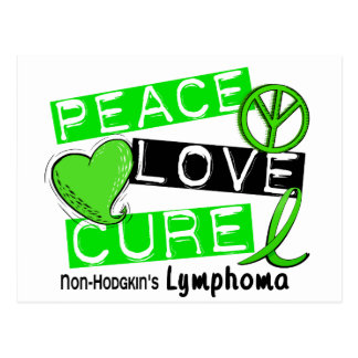 Lymphoma Awareness Non-Hodgkin's PEACE LOVE CURE Postcard
