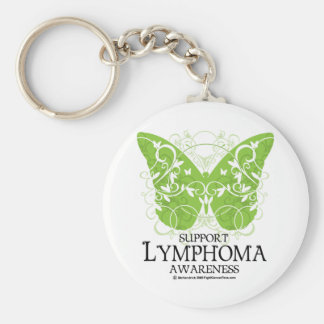 Lymphoma Butterfly Basic Round Button Key Ring