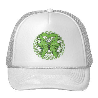 Lymphoma Butterfly Circle of Ribbons Trucker Hats