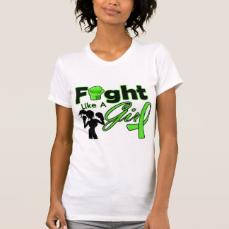 Lymphoma Cancer Fight Like A Girl Silhouette T-shirt