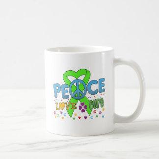 Lymphoma Cancer Groovy Peace Love Cure Basic White Mug