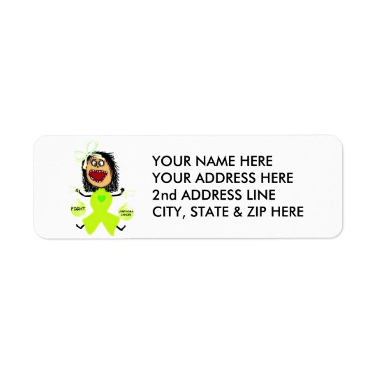 Lymphoma Cancer Lime Green Ribbon Return Address Label