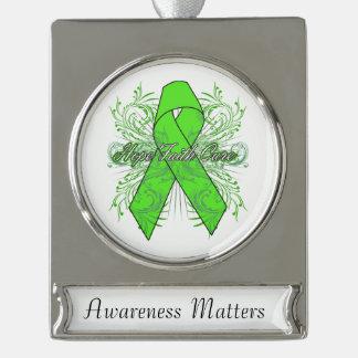Lymphoma Flourish Hope Faith Cure Silver Plated Banner Ornament