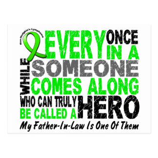 Lymphoma HERO COMES ALONG 1 Father-In-Law Postcard