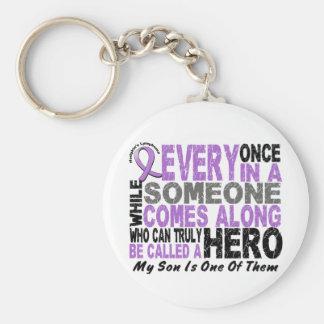 Lymphoma Hodgkin's HERO COMES ALONG 1 Son Basic Round Button Key Ring