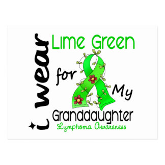 Lymphoma I Wear Lime Green For My Granddaughter 43 Postcard