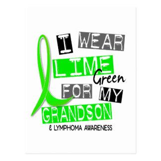 Lymphoma I Wear Lime Green For My Grandson 37 Postcard
