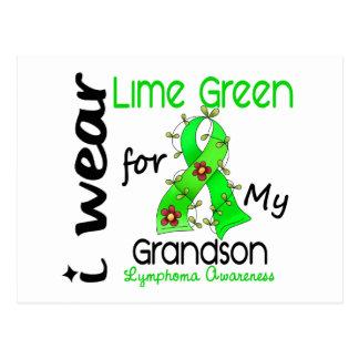 Lymphoma I Wear Lime Green For My Grandson 43 Postcard
