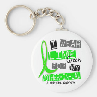 Lymphoma I Wear Lime Green For My Mother-In-Law 37 Basic Round Button Key Ring