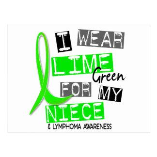 Lymphoma I Wear Lime Green For My Niece 37 Postcard