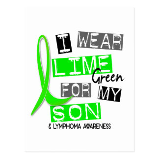 Lymphoma I Wear Lime Green For My Son 37 Postcard