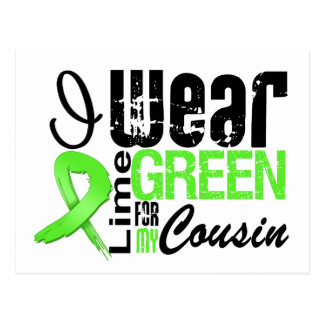 Lymphoma I Wear Lime Green Ribbon COUSIN Post Card