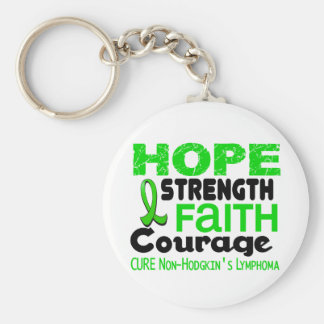 Lymphoma Lime Green HOPE 3 Non-Hodgkin's Basic Round Button Key Ring
