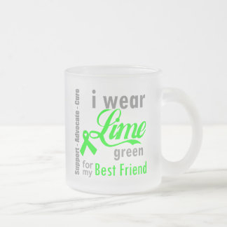 Lymphoma Lime Green Ribbon For My Best Friend Frosted Glass Mug