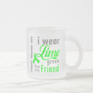 Lymphoma Lime Green Ribbon For My Friend Frosted Glass Mug