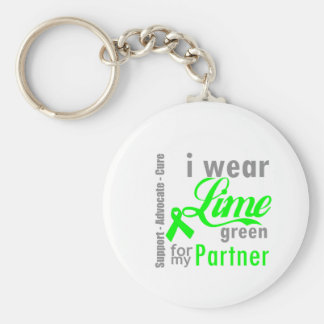 Lymphoma Lime Green Ribbon For My Partner Basic Round Button Key Ring