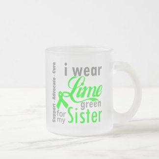 Lymphoma Lime Green Ribbon For My Sister Frosted Glass Mug
