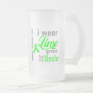 Lymphoma Lime Green Ribbon For My Uncle Frosted Glass Mug