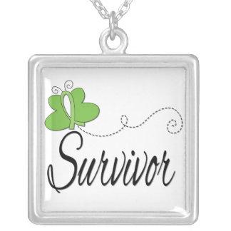 Lymphoma Survivor Butterfly Ribbon Pendant
