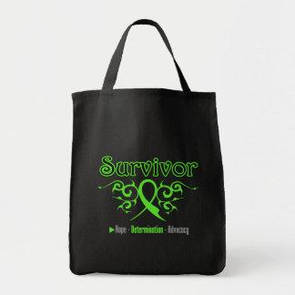 Lymphoma Survivor Tribal Ribbon Tote Bags