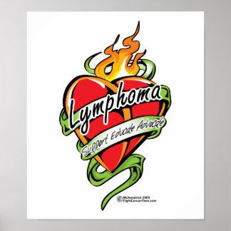 Lymphoma Tattoo Heart Print