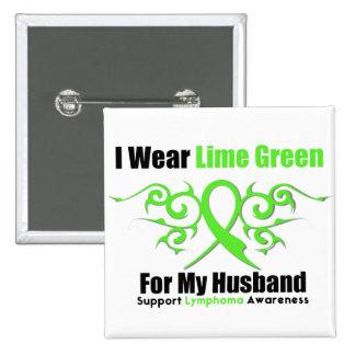Lymphoma Tribal Ribbon For My Husband 15 Cm Square Badge