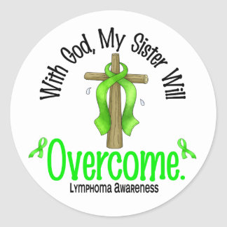 Lymphoma With God My Sister Will Overcome Classic Round Sticker