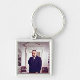 Lyndon B Johnson Silver-Colored Square Key Ring