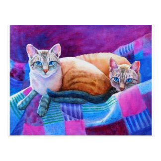 Lynx Point Siamese Cats Postcard