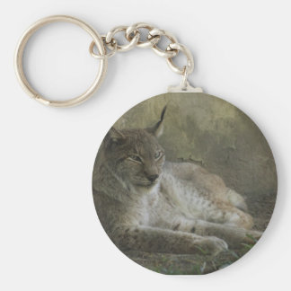 Lynx wild animal from north america basic round button key ring