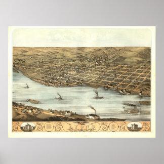 Lyons 1868 Antique Panoramic Map Print