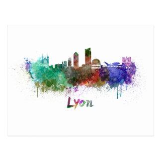 Lyons skyline in watercolor postcard