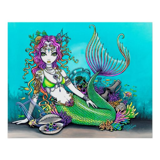 Lyra Tropical Rainbow Mermaid Poster