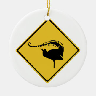 Lyrebird Crossing, Traffic Warning Sign, Australia Christmas Ornament