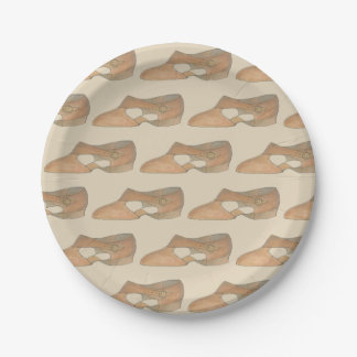 Lyrical Tan Modern Dance Teacher Shoe Print Paper Plate