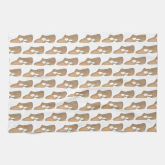 Lyrical Tan Modern Dance Teacher Shoe Print Tea Towel