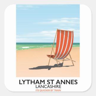 Lytham St Annes Lancashire seaside poster Square Sticker