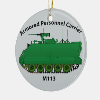 M113-Armored Personnel Carrier APC Round Ceramic Decoration