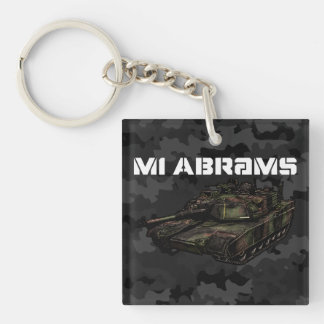 M1 Abrams Double-Sided Square Acrylic Key Ring