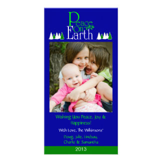 M2 Peace On Earth-Royal Holiday Xmas Photo Cards