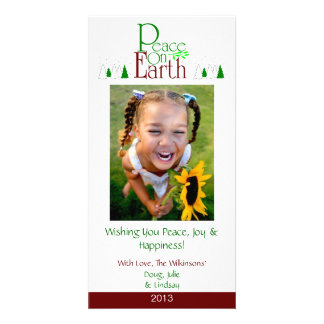 M2 Peace On Earth-White Holiday Xmas Cards Photo Card
