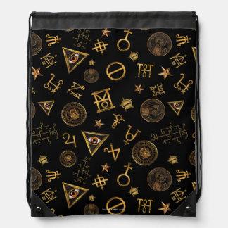 M.A.C.U.S.A. Magic Symbols And Crests Pattern Drawstring Bag