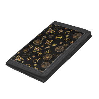 M.A.C.U.S.A. Magic Symbols And Crests Pattern Trifold Wallet
