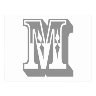 """M"" Alphabet Text Letter Tee Postcard"
