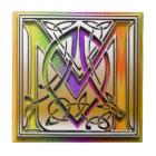 M Celtic Rainbow Custom Monogram Tile