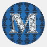 """M"" Diamond Bling on Damask Sticker"