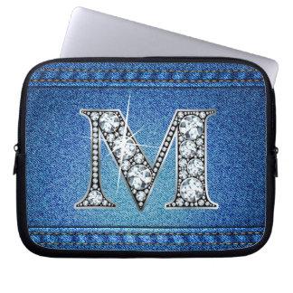 "M ""Diamond"" Denim Stitching Electronics Bag Computer Sleeves"