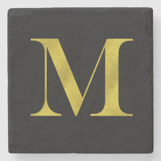 M Engravers Monogram Gold Faux Glitter Template Stone Coaster